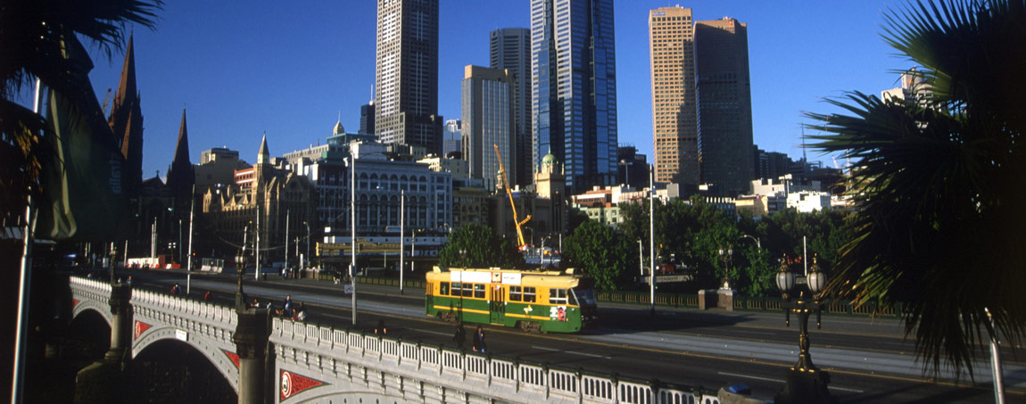 Melbourne, Tram auf der Princes Bridge