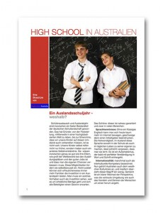High School Australien Broschüre Titel